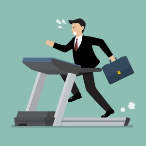 59191463 - businesswoman running on a treadmill. business concept
